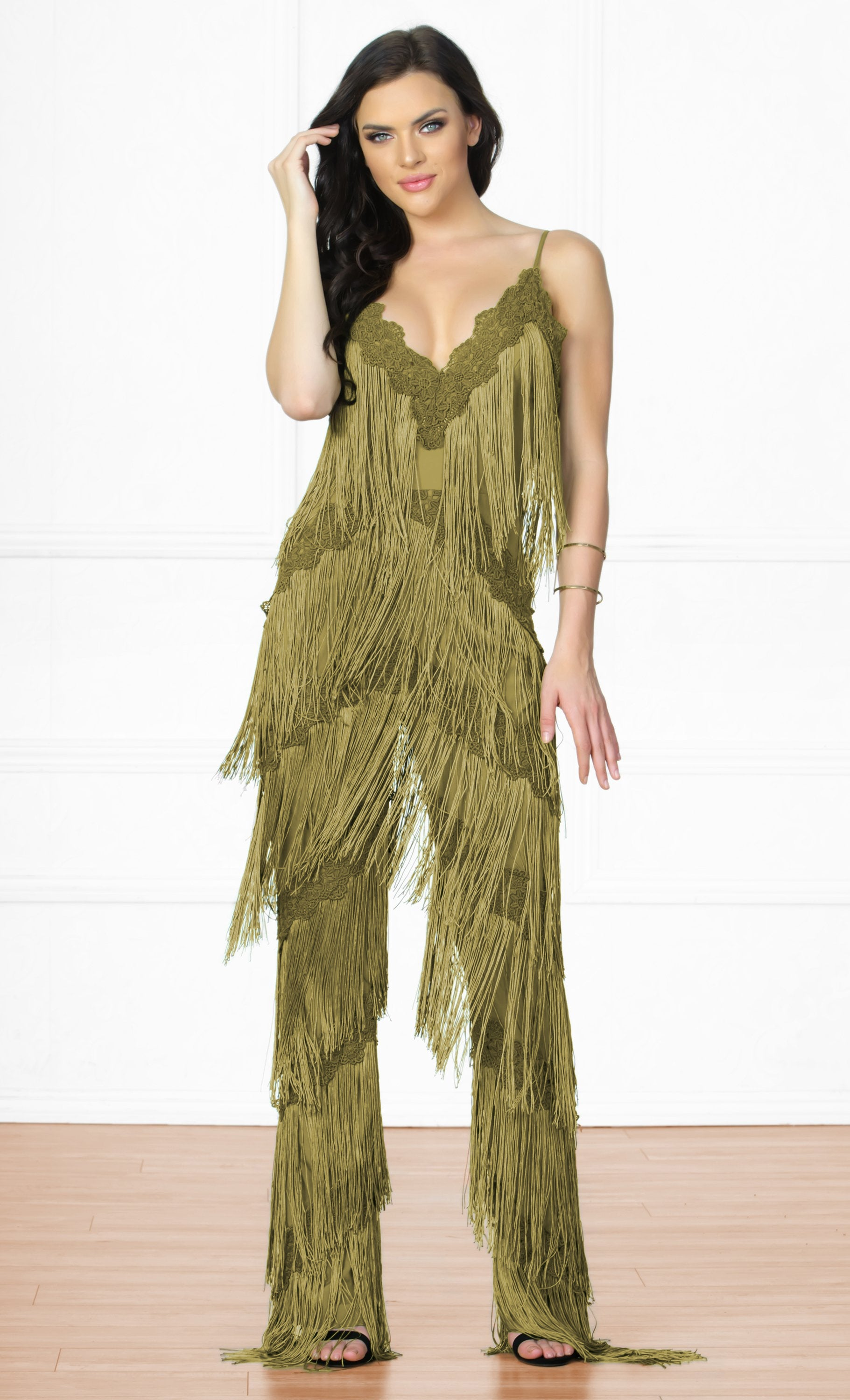 4616bbdc4d3 Indie XO Tinsel Town Army Green Sleeveless Spaghetti Strap Plunge V Neck  Fringe Tiered Jumpsuit -