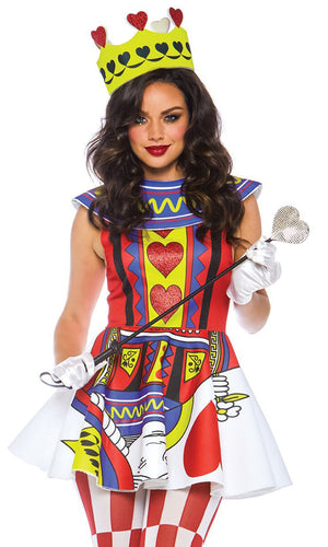 Playing My Hand Red Lime Green Blue Sleeveless Heart Geometric Pattern Flare A Line Mini Dress Halloween Costume