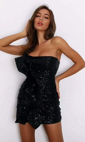 Wine And Dine Gold Sequin Hip Tie Sash Sleeveless Square Neck Mini Dress
