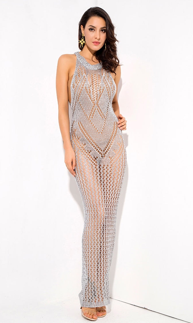 No Filter Silver Sheer Crochet Stretchy Beach Cover Up Lace Pattern Sleeveless Scoop Neck Bodycon Maxi Dress
