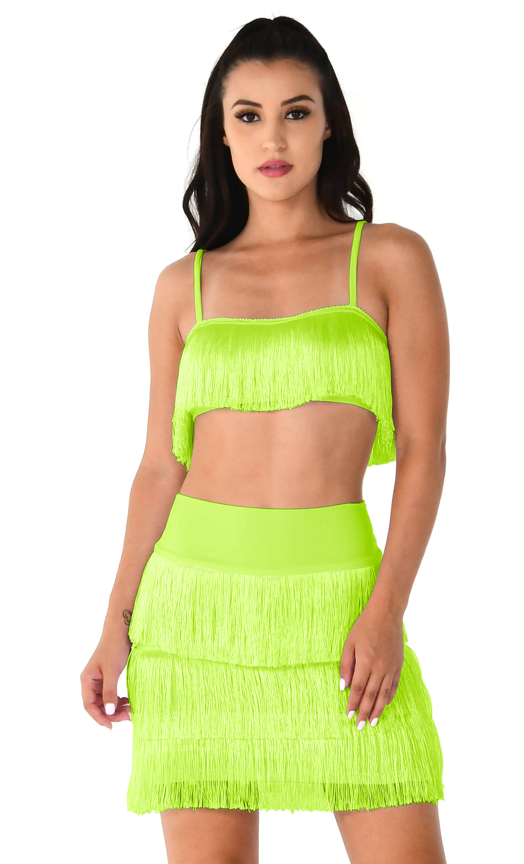 Santiago Sweetheart Neon Green Sleeveless Spaghetti Strap Fringe Crop Top Mini Short Two Piece Dress