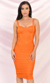 Under My Spell Bright Orange Sleeveless V Neck Sexy Bandage Bodycon Midi Dress