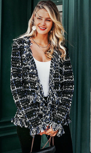 A Lady Never Tells Black White Plaid Pattern Tweed Fringe Tassel Long Sleeve Round Neck Blazer Jacket Outerwear