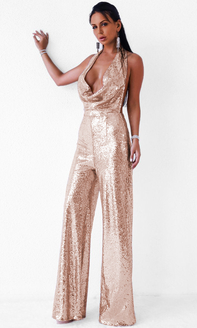 Disco Ball Rose Gold Sequin Sleeveless Backless Halter Cowl Neck Wide Leg Jumpsuit