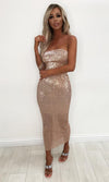 Envy This Champagne Sequin Strapless Tube Midi Dress