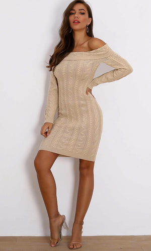Sweet Talker Cable Knit Off the Shoulder Folded Long Sleeve Midi Bodycon Sweater Dress - 2 Colors Available