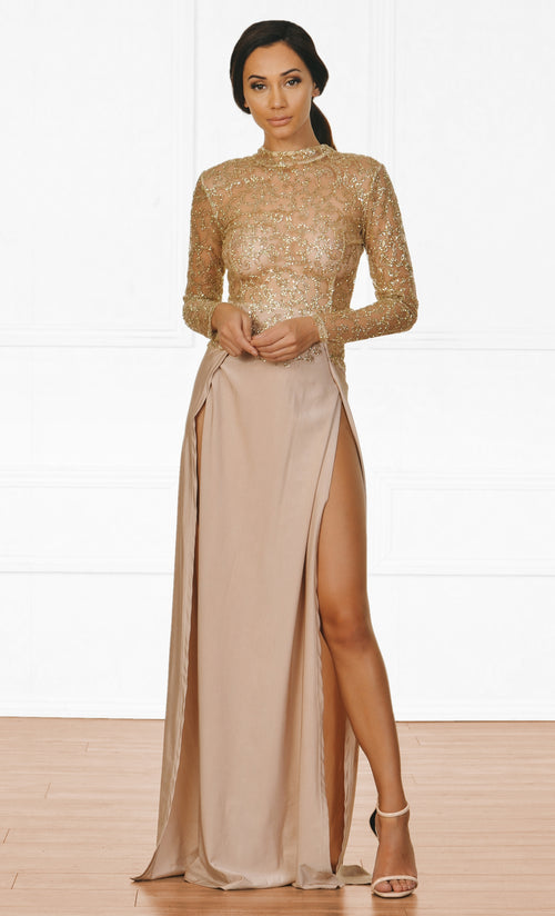 Indie XO High Drama Beige Gold Glitter Sheer Mesh Long Sleeve Mock Neck Cut Out Back Double Slit Maxi Dress