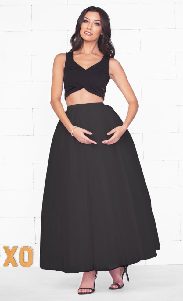 Indie XO Do A Twirl 7 Layer Black Pleated Elastic Waist Swiss Tulle Ball Gown Maxi Skirt - Just Ours!