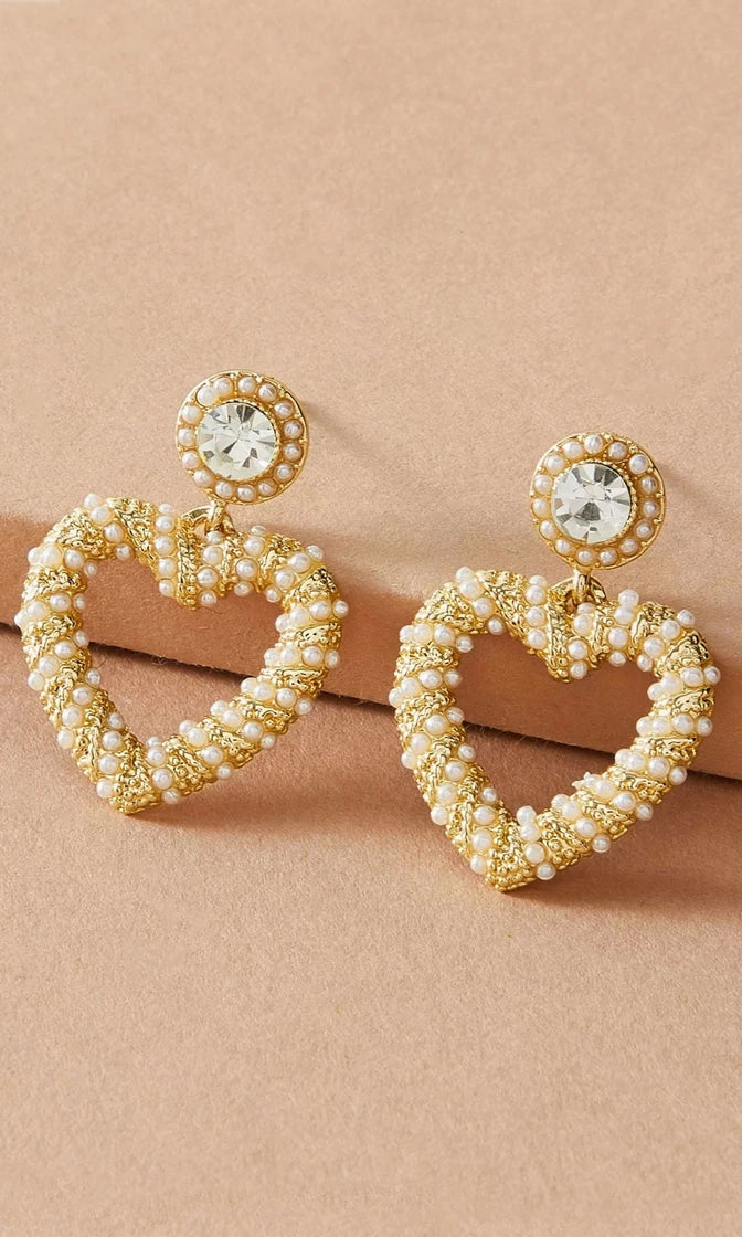 Love You Always Gold Faux Pearl Rhinestone Heart Earrings
