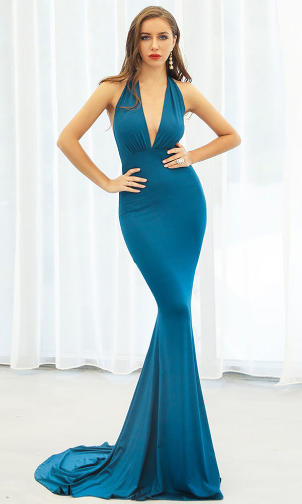 20568d1c320 Drive Me Crazy Neon Blue Sleeveless Plunge V Neck Tie Halter Cut Out Back  Bodycon Mermaid