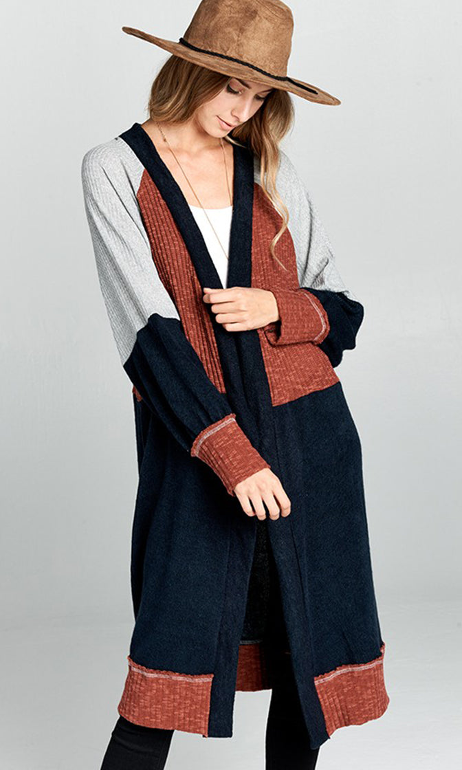 Writer's Block Navy Rust Gray Color Block Pattern Long Sleeve Open Cardigan Sweater