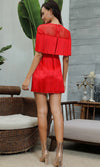 Best Romance Red Sheer Fishnet Mesh Fringe Short Sleeve Crew Neck Mini Dress