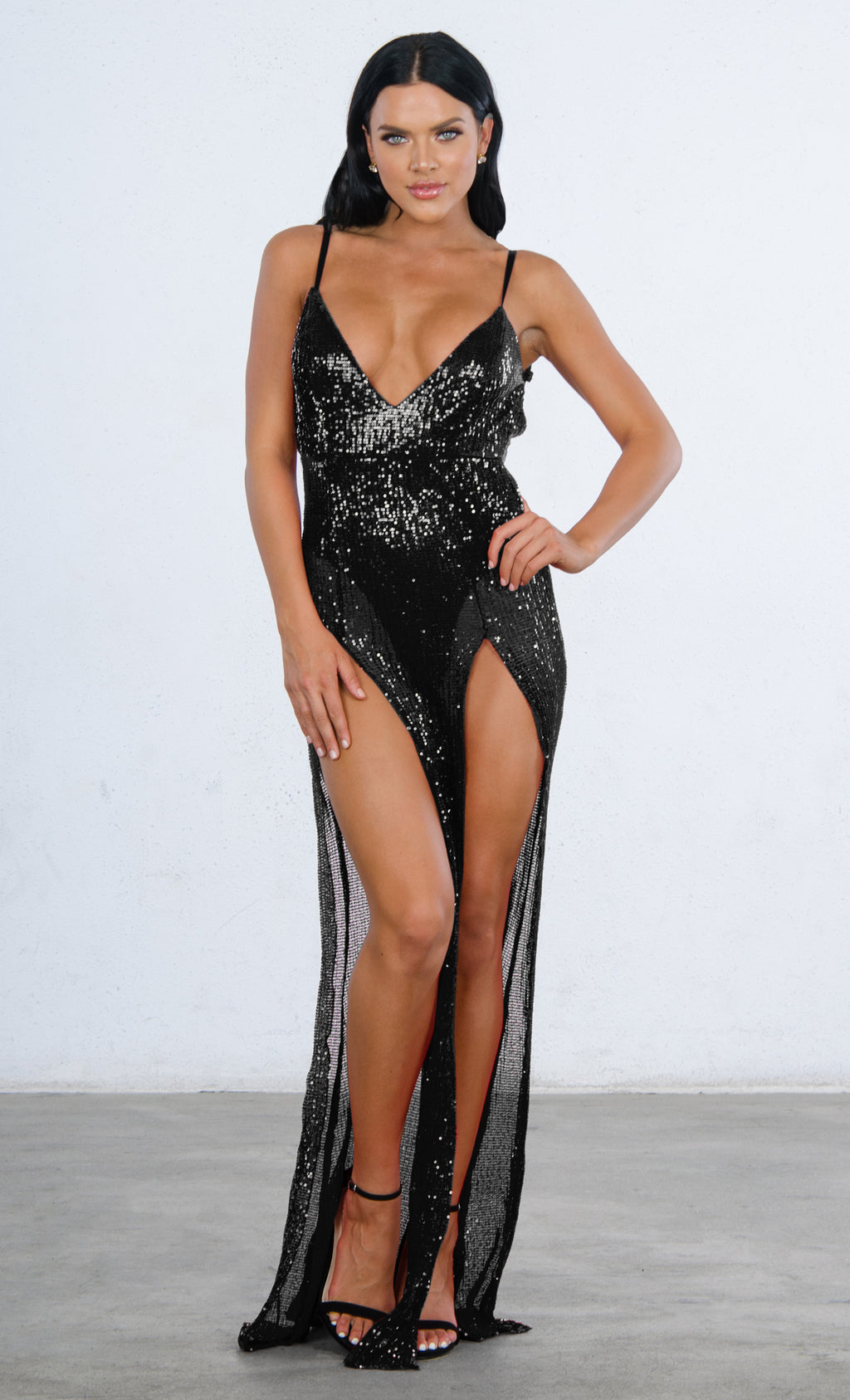 Indie XO Mystery Girl Black Sequin Sleeveless Spaghetti Strap Plunge V Neck Backless Double Slit Maxi Dress