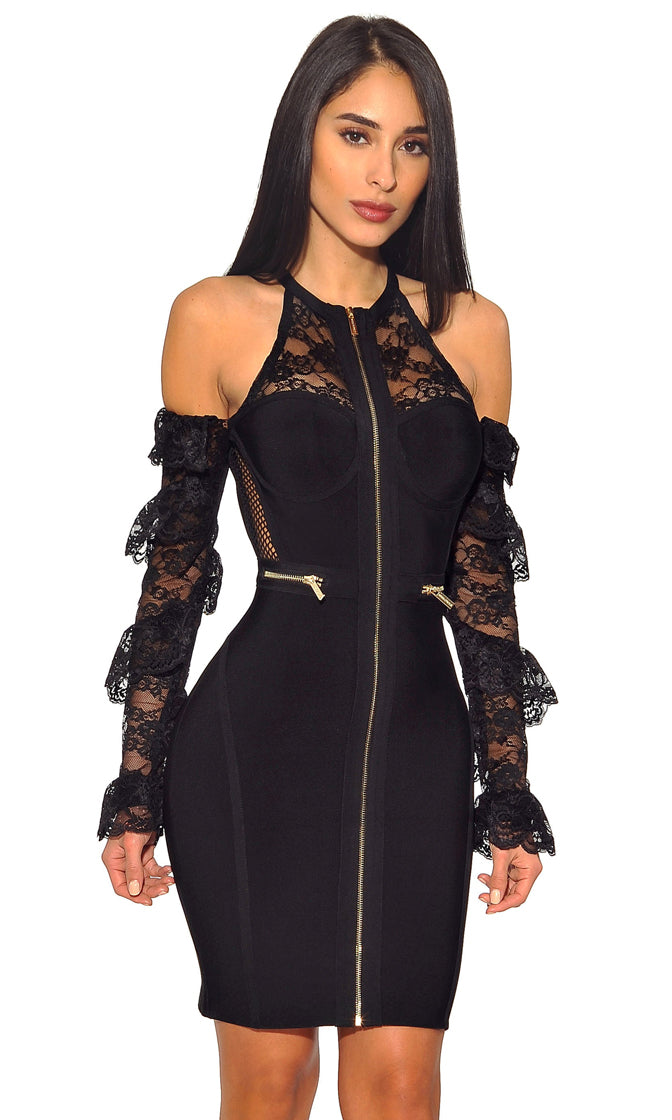 Powering Through Black Sheer Mesh Lace Cold Shoulder Zip Front Round Neck Ruffle Bandage Long Sleeve Mini Dress