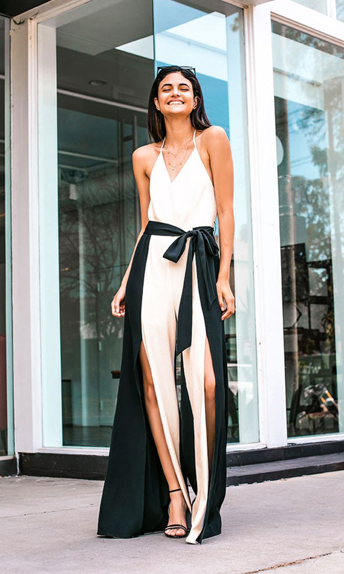 d53a4f2d8b5 Selfie Time Beige Black Contrast Color Block Sleeveless Belted Spaghetti  Strap V Neck Halter Backless Wide