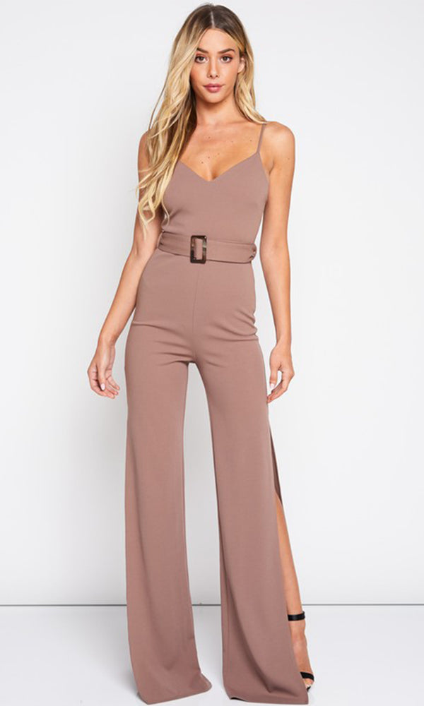 c103b275a228 Hollywood Nights Sleeveless Spaghetti Strap V Neck Side Slit Belted Loose  Wide Leg Jumpsuit - 2