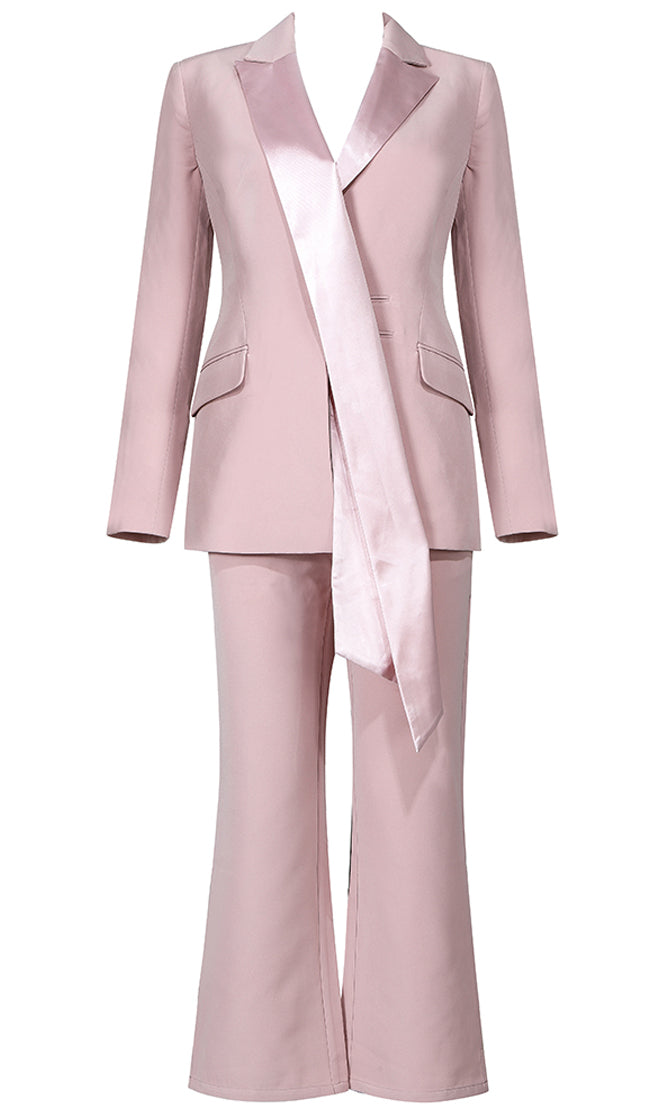 Suit Up Pink Satin Lapel Long Sleeve Blazer Jacket Flare Leg Trouser Pant Two Piece Jumpsuit Set