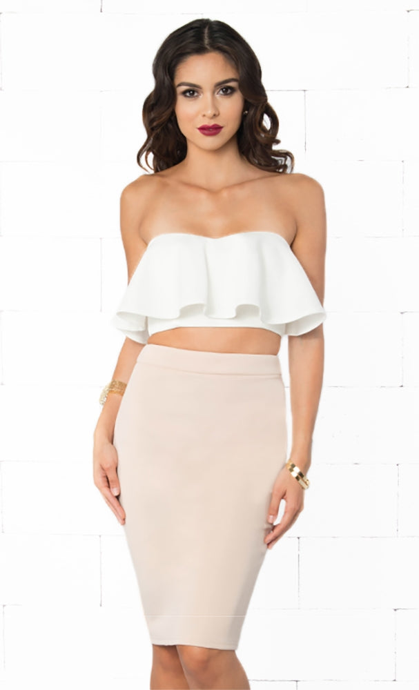 Indie XO Please Me White Beige Strapless Crop Ruffle Top Bodycon Midi Skirt Two Piece Dress - Just Ours!