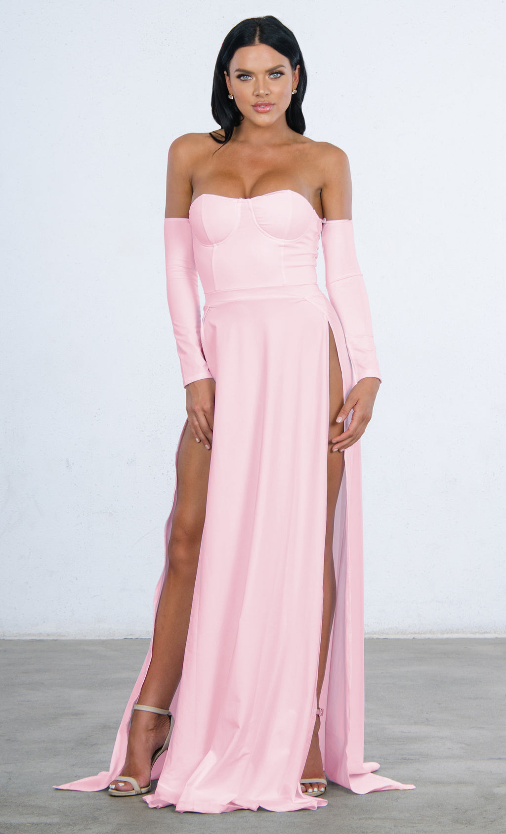 Indie XO You're An Angel Double Slit Off the Shoulder Bustier Long Sleeve Maxi Gown Dress - 2 Colors Available