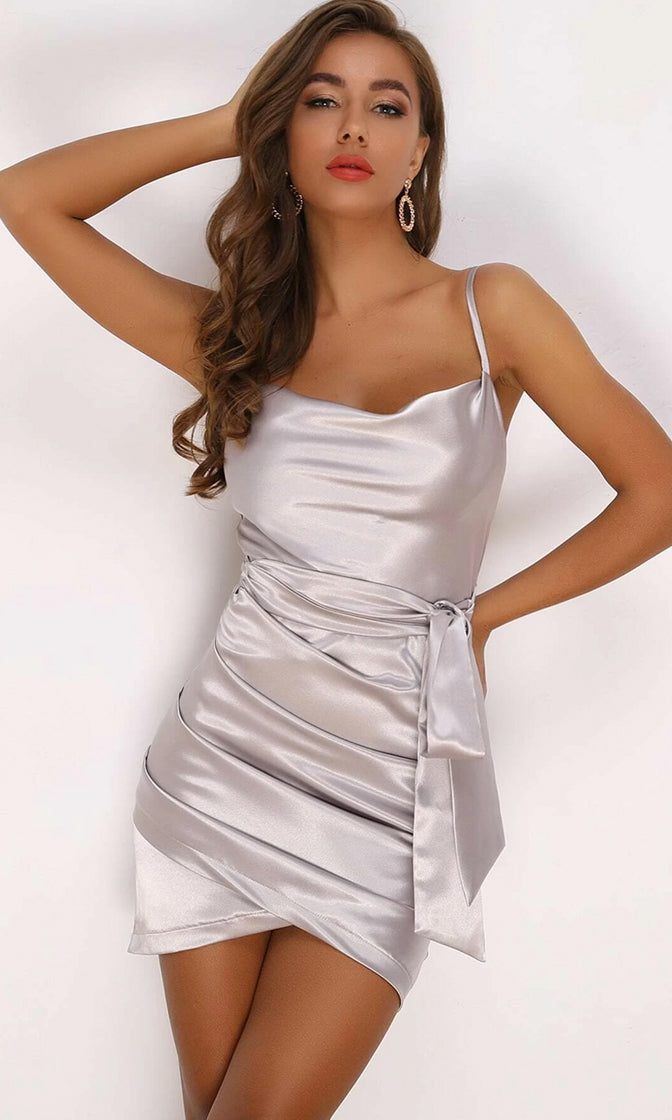 Honeymoon Period Light Grey Satin Sash Asymmetrical Tulip Hem Spaghetti Strap Sleeveless Tie Belt Cowl Neck Mini Dress