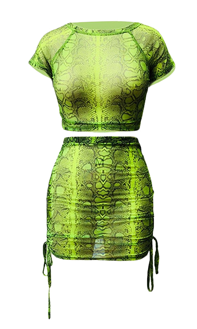 Venomous Vixen Snake Print Python Pattern Short Sleeve Mock Neck Knotted Crop Top Side Ruched Bodycon Two Piece Mini Dress - 2 Colors Available