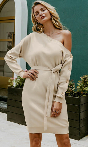 Whisper To Me Long Chiffon Dot Pattern Lantern Sleeve Cross Wrap V Neck Sweater Midi Dress - 5 Colors Available