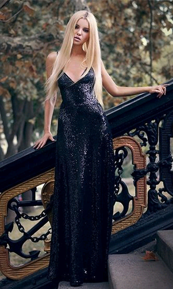 316a88a8ba Shimmer and Shine Black Sequin Sleeveless Spaghetti Strap V Neck Backless Maxi  Dress Evening Gown -