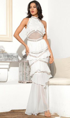 Love Hurts Lace Sleeveless Mock Neck Halter Cut Out Back Double Slit Maxi Dress - 2 Colors Available