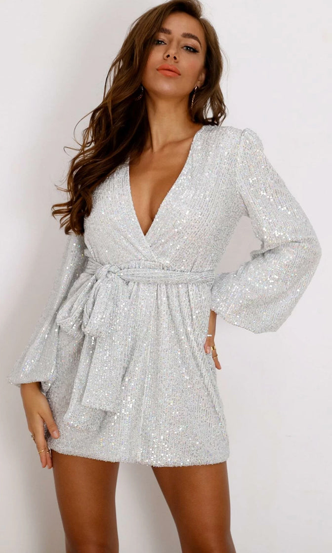 Glitzy Goddess Silver Multi Reflective Sequin Long Lantern Sleeve Cross Wrap V Neck Tie Belt Mini Dress