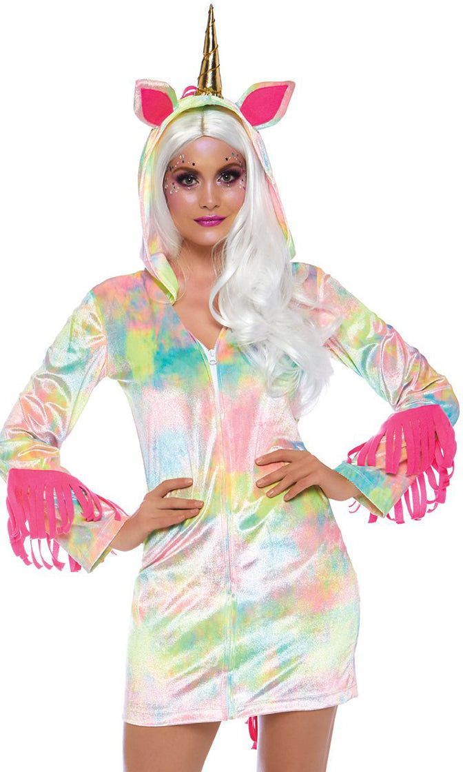My Little Pony Sexy Unicorn Multicolor Hooded White Tie Dye Zip Front Long Sleeve Mini Dress Fringe Mini Dress
