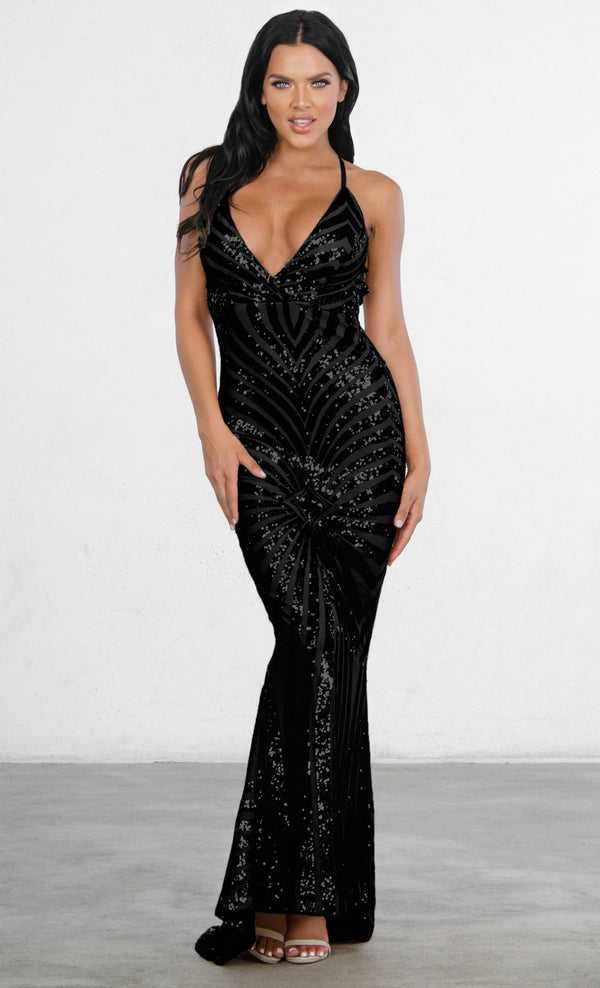 e8f20b200c Indie XO Champagne Dreams Black Sequin Geometric Pattern Sleeveless  Spaghetti Strap V Neck Mermaid Maxi Dress