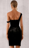 Dress Rehearsal Black Velvet Sleeveless Draped Off The Shoulder Side Slit Bodycon Mini Dress