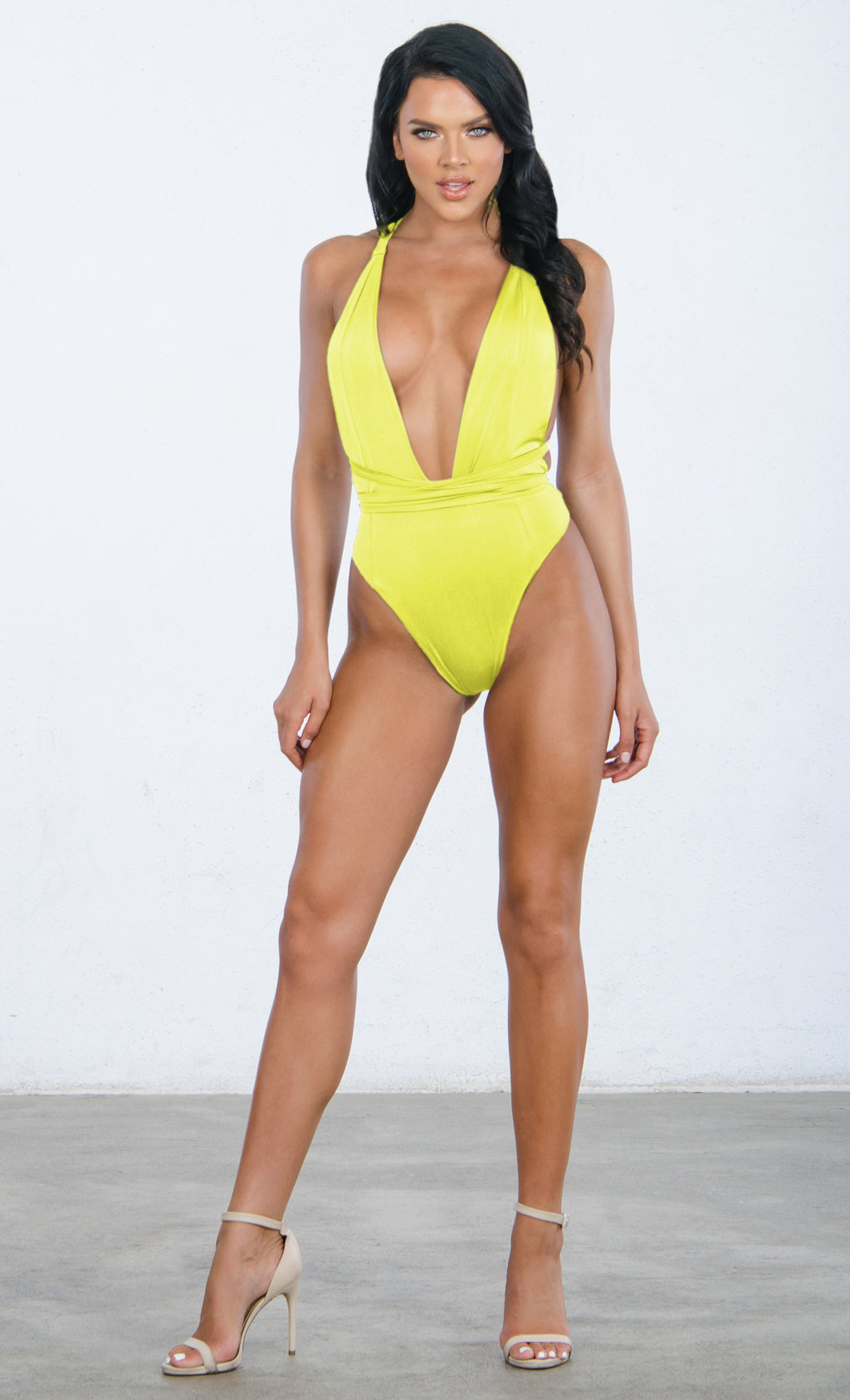 On The Jetties Yellow Sleeveless Stretch Plunge V Neck Backless Halter One Piece Swimsuit - 3 Colors Available