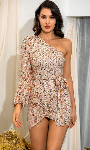 Have A Blast Silver Sequin Long Sleeve Cross Wrap V Neck Drape Bodycon Mini Dress
