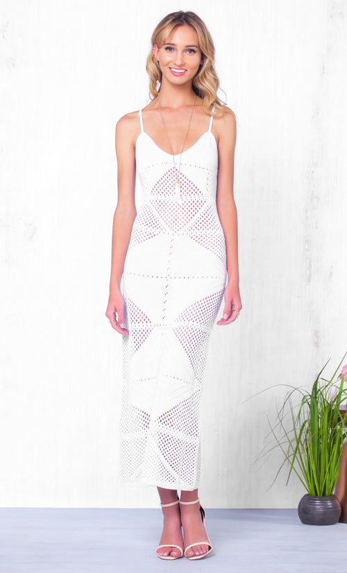 Indie XO Sweet Escape White Geometric Cut Out Crochet Sleeveless Spaghetti Strap V Neck Bodycon Casual Maxi Dress Cover Up - Just Ours!