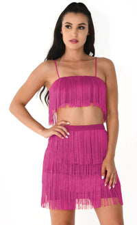Shot Caller Red Sleeveless Spaghetti Strap Fringe Crop Top Bodycon Two Piece Mini Dress - Sold Out