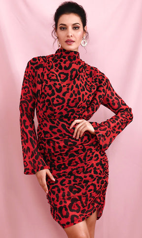 Midnight Lover Red Sheer Mesh Polka Dot Pattern Long Sleeve Sweetheart Neck Bodycon Mini Dress