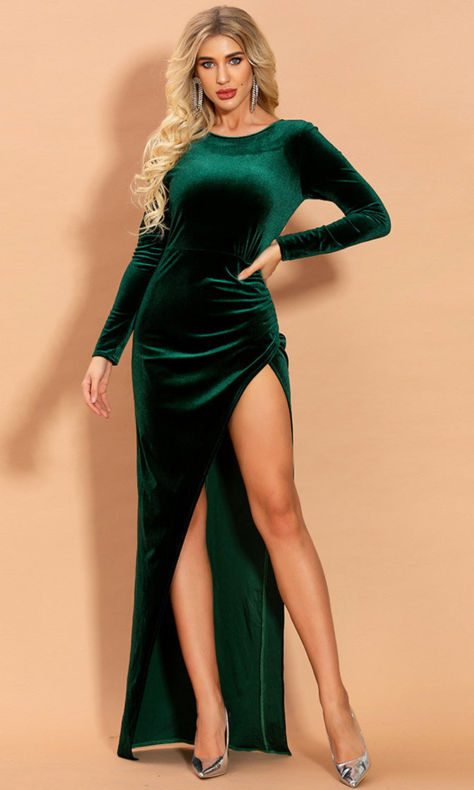 Soft Touch Dark Forest Emerald Green Velvet Long Sleeve Round Neck Cut Out Side Slit Ruched Hip Bodycon Maxi Dress