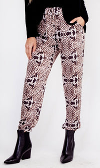 Snake Pit Grey Snakeskin Print Animal Pattern Elastic Waist Loose Jogger Pants - Sold Out