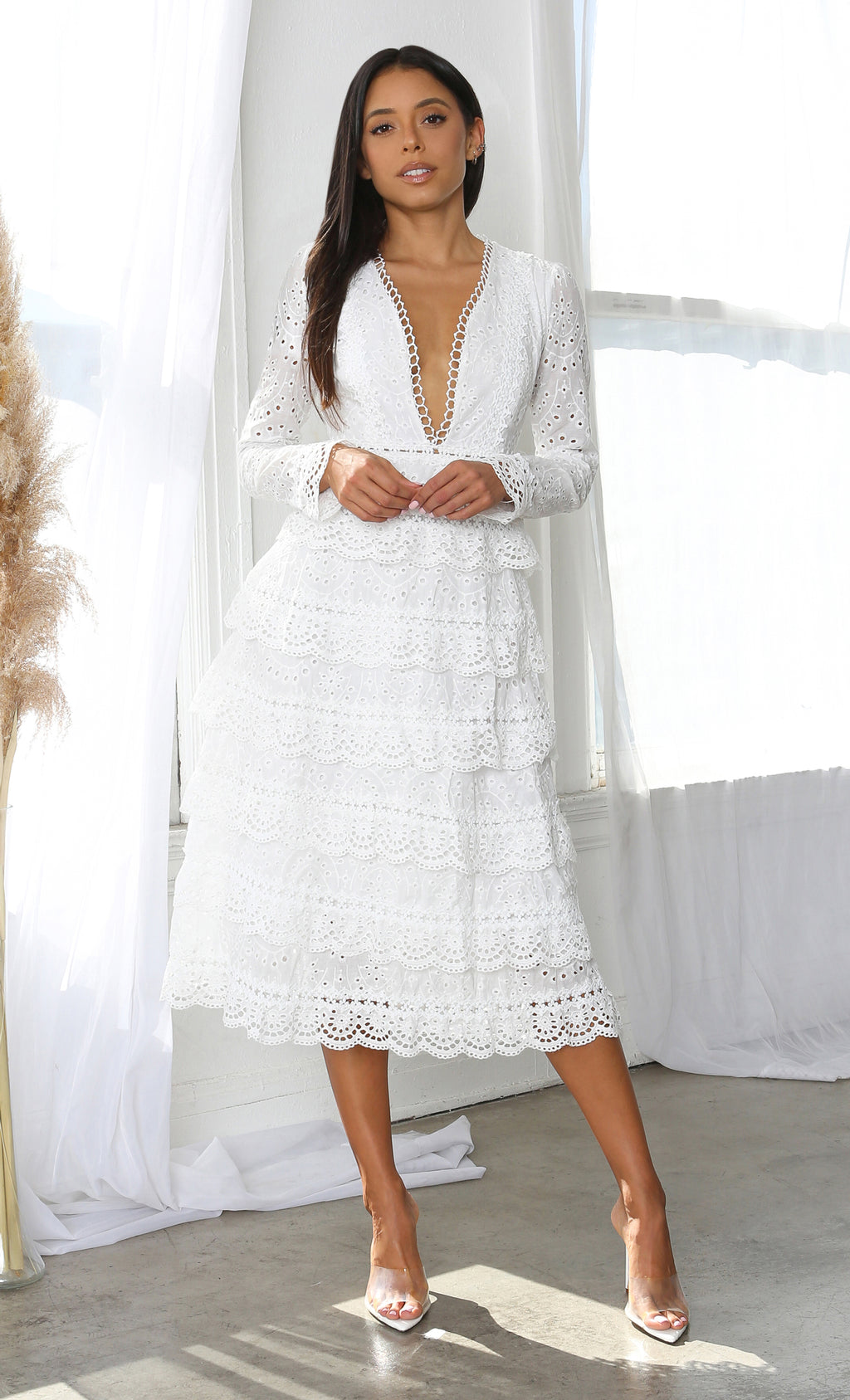 Ready For Change White Loose Lace Eyelet Long Sleeve Plunge V Neck Ruffle Tiered Casual Maxi Dress