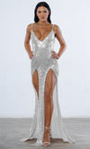 Indie XO Red Carpet Ready Gold Diamanté Metallic Swarovski Crystal Rhinestone Mesh Baguette Cut Halter Chain Backless V Neck Mini Dress