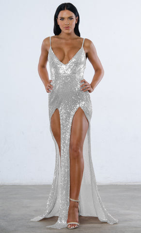 Indie XO Champagne Dreams Gold Sequin Geometric Pattern Sleeveless Spaghetti Strap V Neck Mermaid Maxi Dress