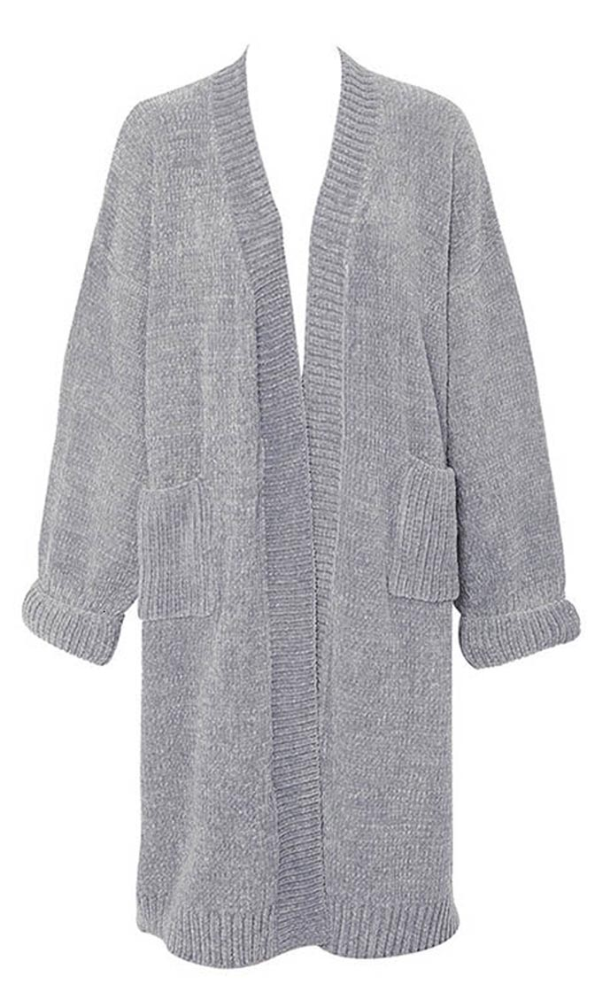 Layer Of Love Medium Grey Cozy Chenille Ribbed Edge Oversized Long Sleeve Open Front Cardigan Duster Pocket Sweater