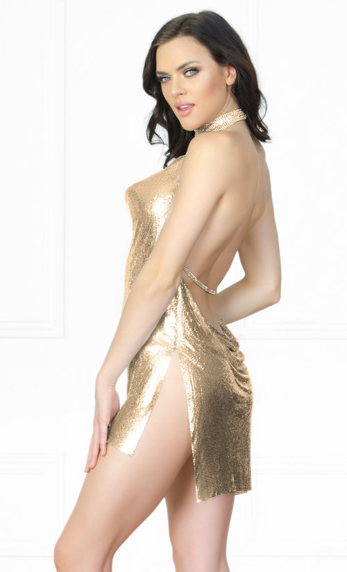 Indie XO Gold Chain Gang Metal Chainmail Plunge V Neck Backless Halter Mini Dress