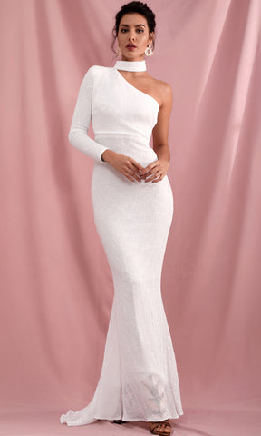 Dreaming Of The Future White Long Sleeve Off The Shoulder Bustier A Line Casual Maxi Dress