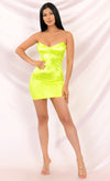 Never Lonely Neon Green Satin Strapless Bustier V Neck Bodycon Mini Dress - Sold Out