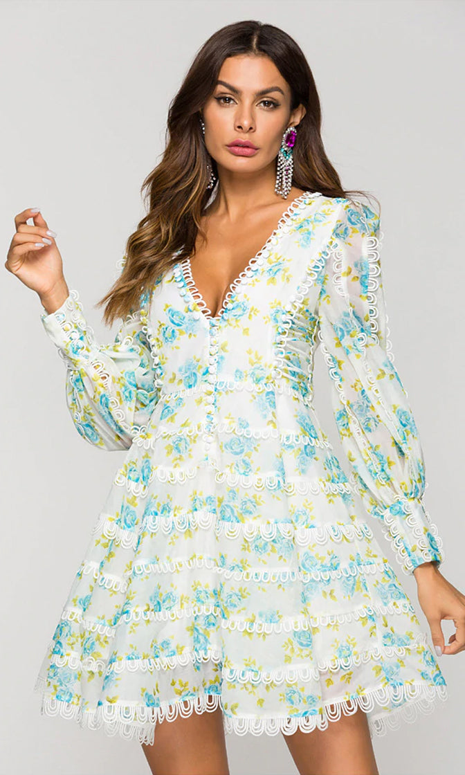 Foolish Attraction White Blue Green Floral Pattern Long Puff Sleeve Plunge V Neck Skater Circle A Line Flare Mini Dress - Inspired by Beyonce