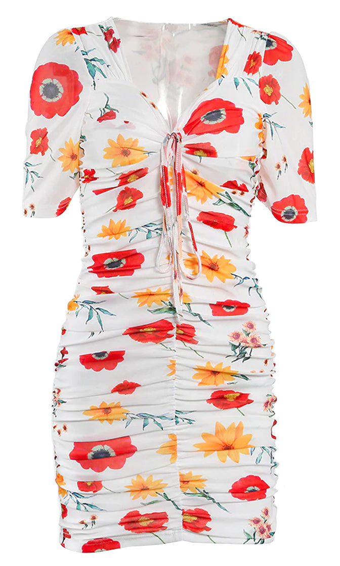 Rose Garden White Floral Pattern Short Sleeve V Neck Ruched Drawstring Bodycon Mini Dress