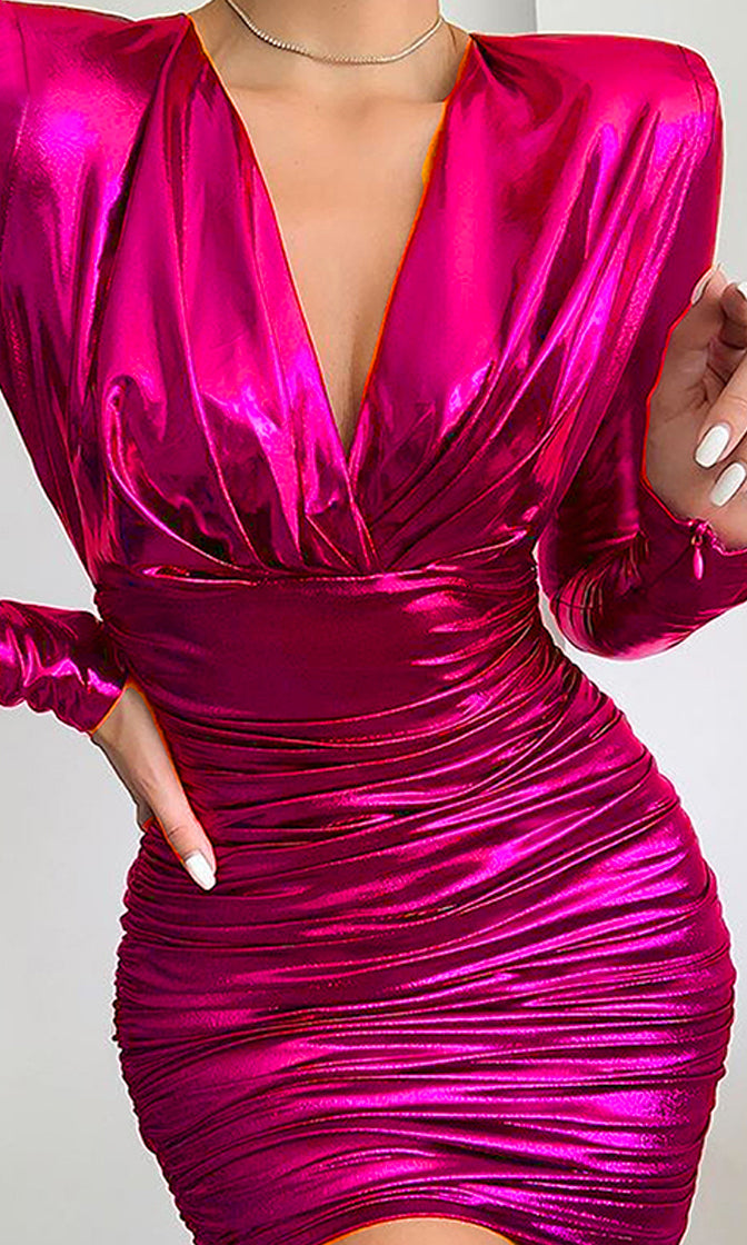 What Happens In Vegas Metallic Long Sleeve Plunge V Neck Ruched Bodycon Mini Dress - 2 Colors Available