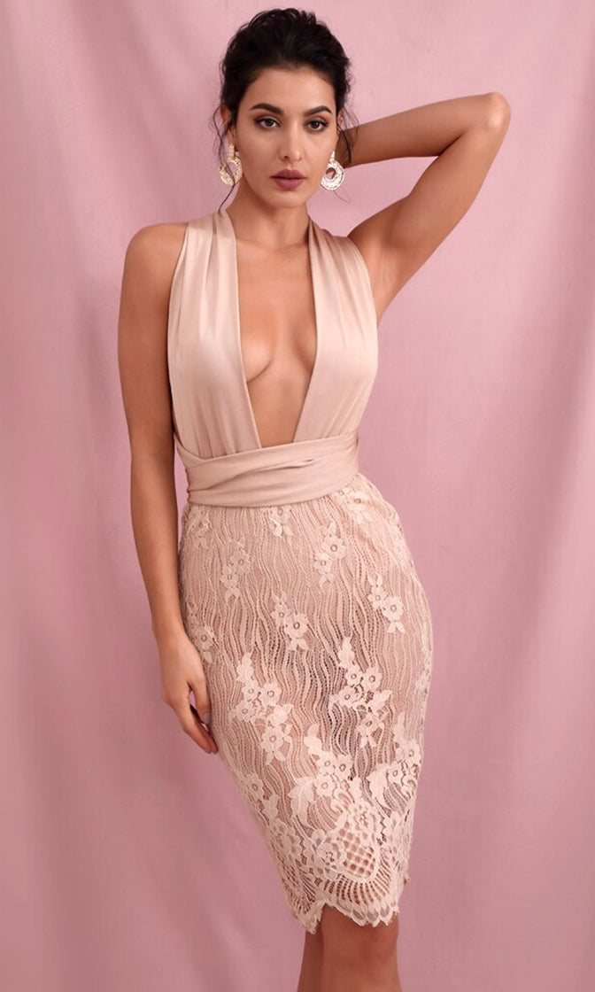 My Fantasy Nude Sheer Mesh Lace Sleeveless Plunge V Neck Tie Belt Bodycon Midi Dress